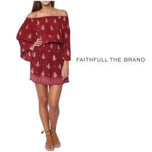 Faithful the Brand Paisley Off Shoulder  Dress
